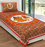 RajasthaniKart Classic 144 TC Cotton Single Bedsheet with Pillow Cover - Abstract, Orange