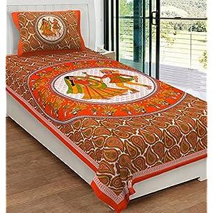 RajasthaniKart® Comfort Rajasthani Jaipuri Traditional Sanganeri Print 144 TC 100% Cotton Single Bedsheet with 1 Pillow…