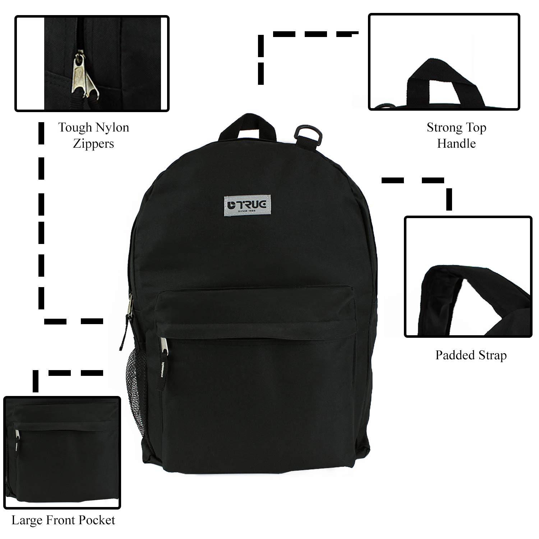 24 Black Wholesale 19 Backpacks for Kids /& Adults Bulk Case of 24 Bookbags