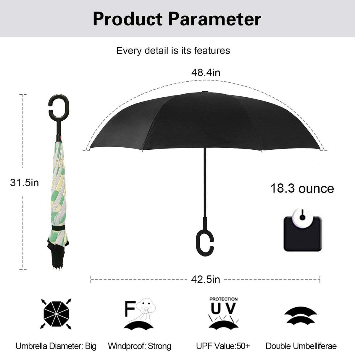 PYFXSALA Hand Drawn Pink Flowers Pot Windproof Inverted Umbrella Double Layer UV Protection Folding Reverse Umbrella for Car Rain Outdoor Self Stand Upside Down with C-Shaped Handle