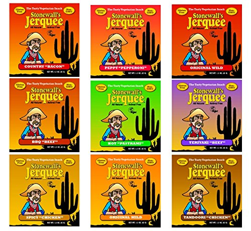 Stonewall's Jerquee 9 Flaors Variety Pack - 1 of Each Flavor - 1.5 Oz. Packets - With Organic Snack Pouch