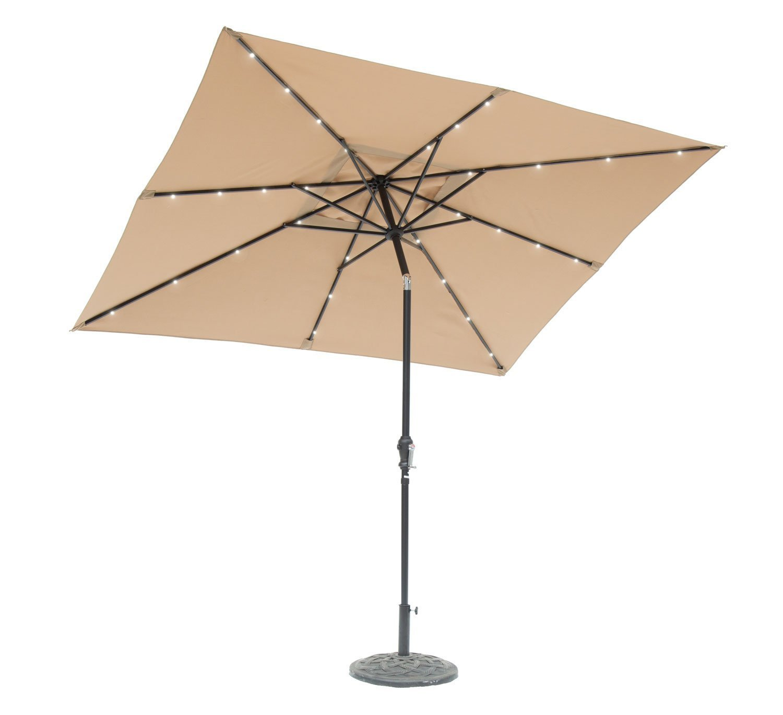 Sun-Ray 811027 9'x7' Rectangular 8-Rib Solar Patio Umbrella, 32 LED Lights, Crank and Tilt, Aluminum Frame, Taupe/Beige
