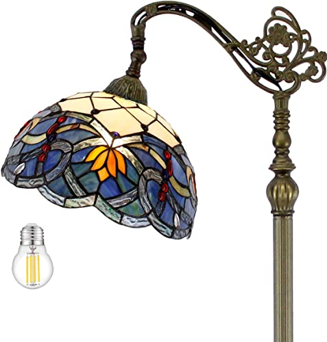 Tiffany Style Reading Floor Lamp Lighting W12H64 Inch LED Bulb Included Blue Stained Glass Lotus Lampshade Antique Adjustable Arched Resin Base Foot Switch Easy Assemble S220 WERFACTORY Lamps Gifts