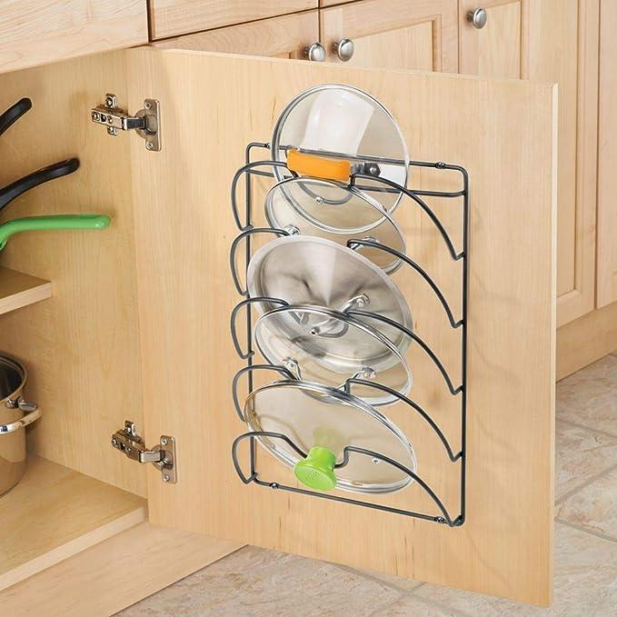 mDesign Soportes de pared para utensilios y menaje de cocina con 5 apartados - Práctico organizador de tapas de ollas y sartenes - Útil organizador de ...