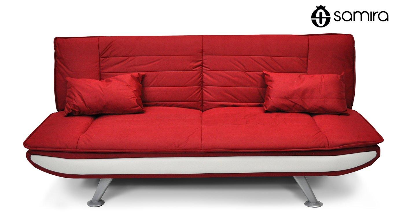 Sofá cama de microfibra rojo – Sofá 3 plazas mod. Iris ...