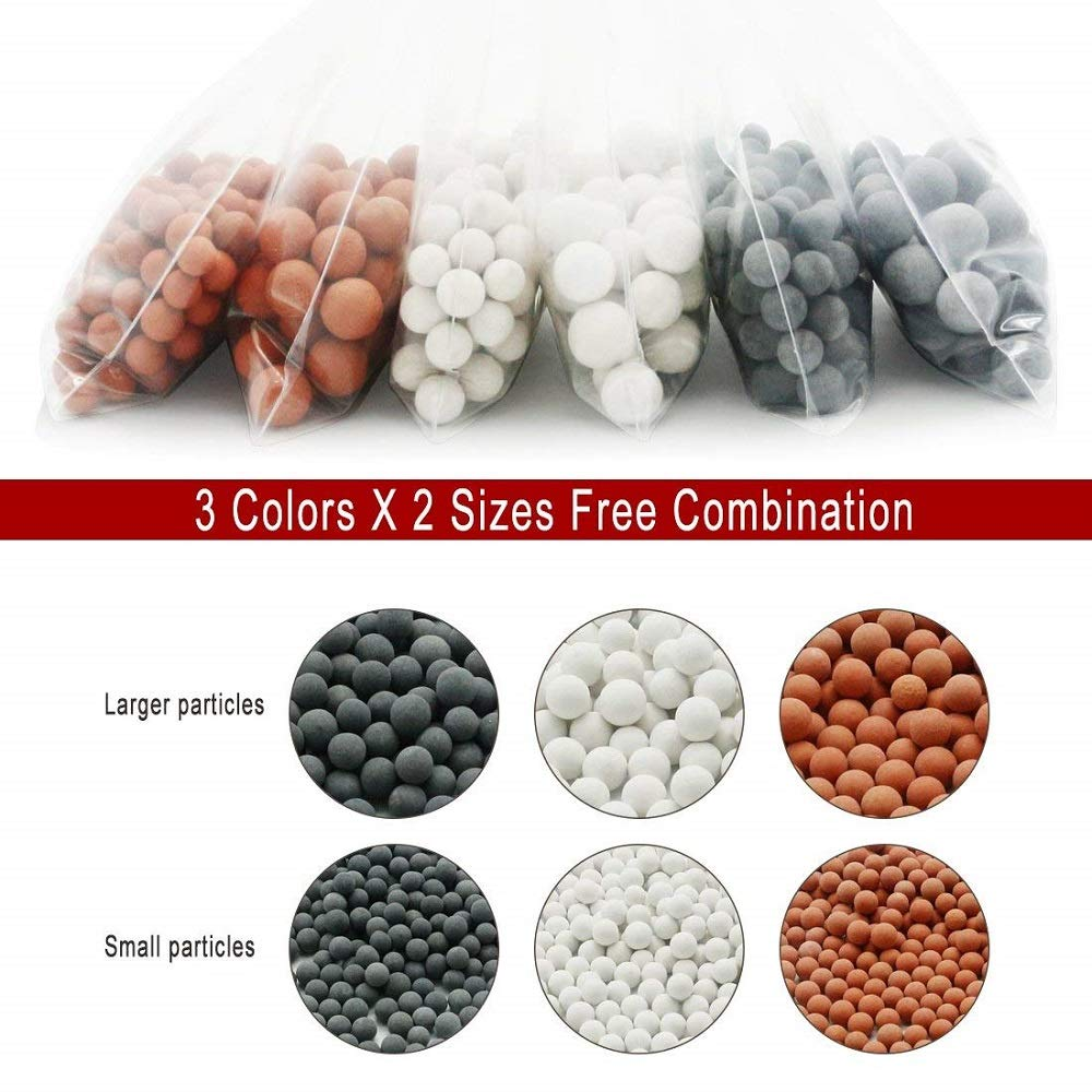 cabezal de filtro de ducha de alta presi/ón 3 colores cambiantes Alcachofa de ducha LED con 6 filtros i/ónicos de piedras spa de mano ahorro de agua