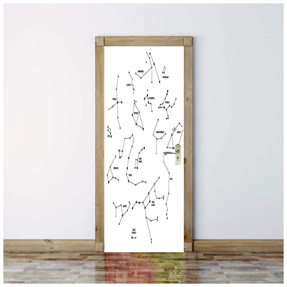 3D Door Mural Constellation Removable Vinyl Door Wall Mural Door Wallpaper for Home Décor-95x215cm