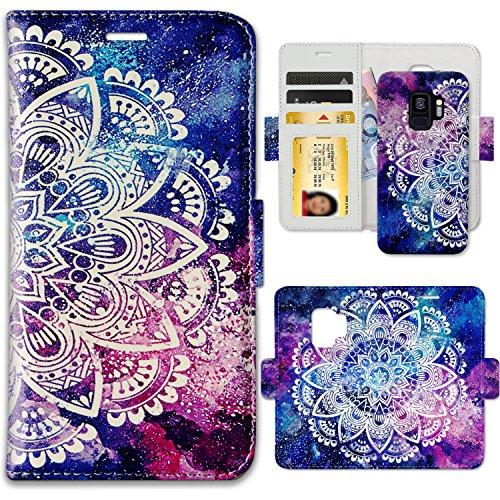 Galaxy S9 Case, ZUSLAB Unique Pattern Design Folio Wallet, Slim Detachable Magnetic Hard Case, Card Slots Carrying Flip Cover for Samsung S9, 2018 (Nebula Mandala)