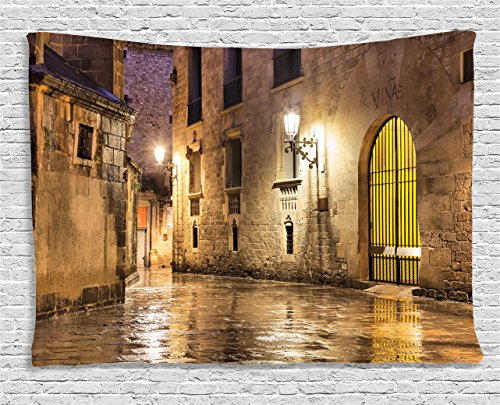- Ambesonne Gothic Decor Collection, Gothic Ancient Stone Quarter of Barcelona Spain Renaissance Heritage Gothic Night Street Photo, Bedroom Living Room Dorm Wall Hanging Tapestry, 60 X 40 Inches, Cream