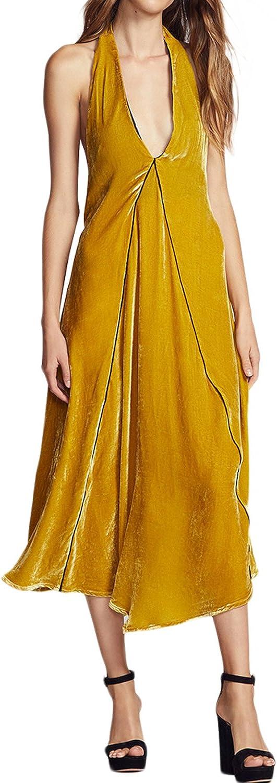 hodoyi Women Solid Velvet Low Cut Halter Lace Up Backless Midi Dress