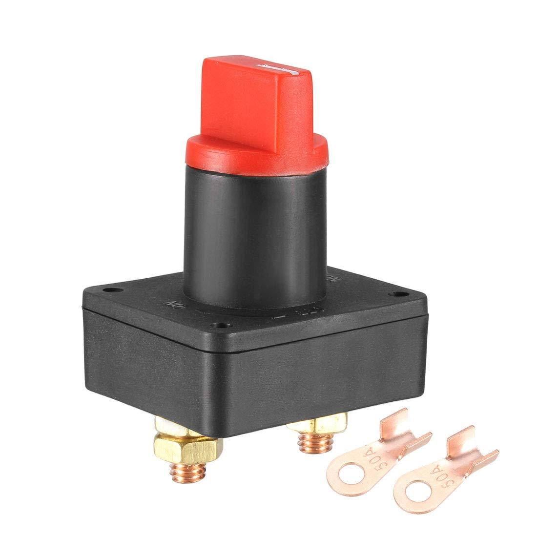 sourcing map Batterie Trennschalter 12-24V Batterie Stromausfall Meister Schalter Isolator Ein Aus mit 2 Klemme Anschl/üsse