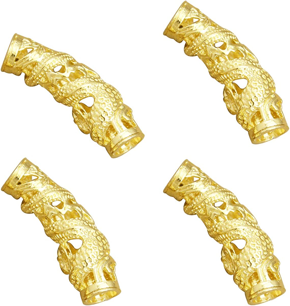 5pcs//Set Retro Alloy Viking Dreadlock Beads Braided Hole Beads Hair Rings New LS