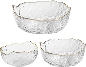 OBR KING Glass Salad Bowl Set of 3 Phnom Penh Mixing Bowls Irregular Shape Serving Bowls for Kitchen Prep Fruit Pasta Popcorn and Snack