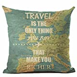 Pgojuni Map The World Print Pillow Cases Linen Cotton Sofa Cushion Cover Home Decor Sofa/Couch 1pc 45X45 cm (G)