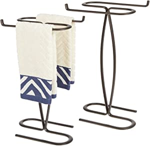 """mDesign Decorative Modern Metal Fingertip, Hand Towel Holder Stand - for Bathroom Vanity Countertops to Display and Store Small Guest Towels - 2-Sided, 14"""" High, 2 Pack - Bronze"""