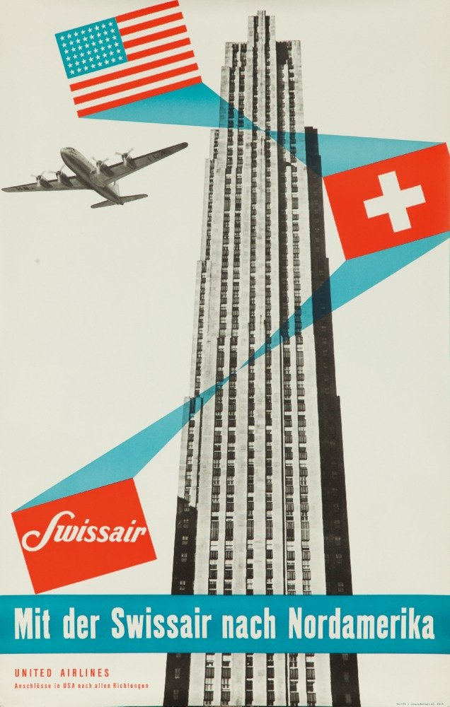 Switzerland - Swissair - (artist: Henri Ott c. 1950) - Vintage Advertisement (36x54 Giclee Gallery Print, Wall Decor Travel Poster) by Lantern Press