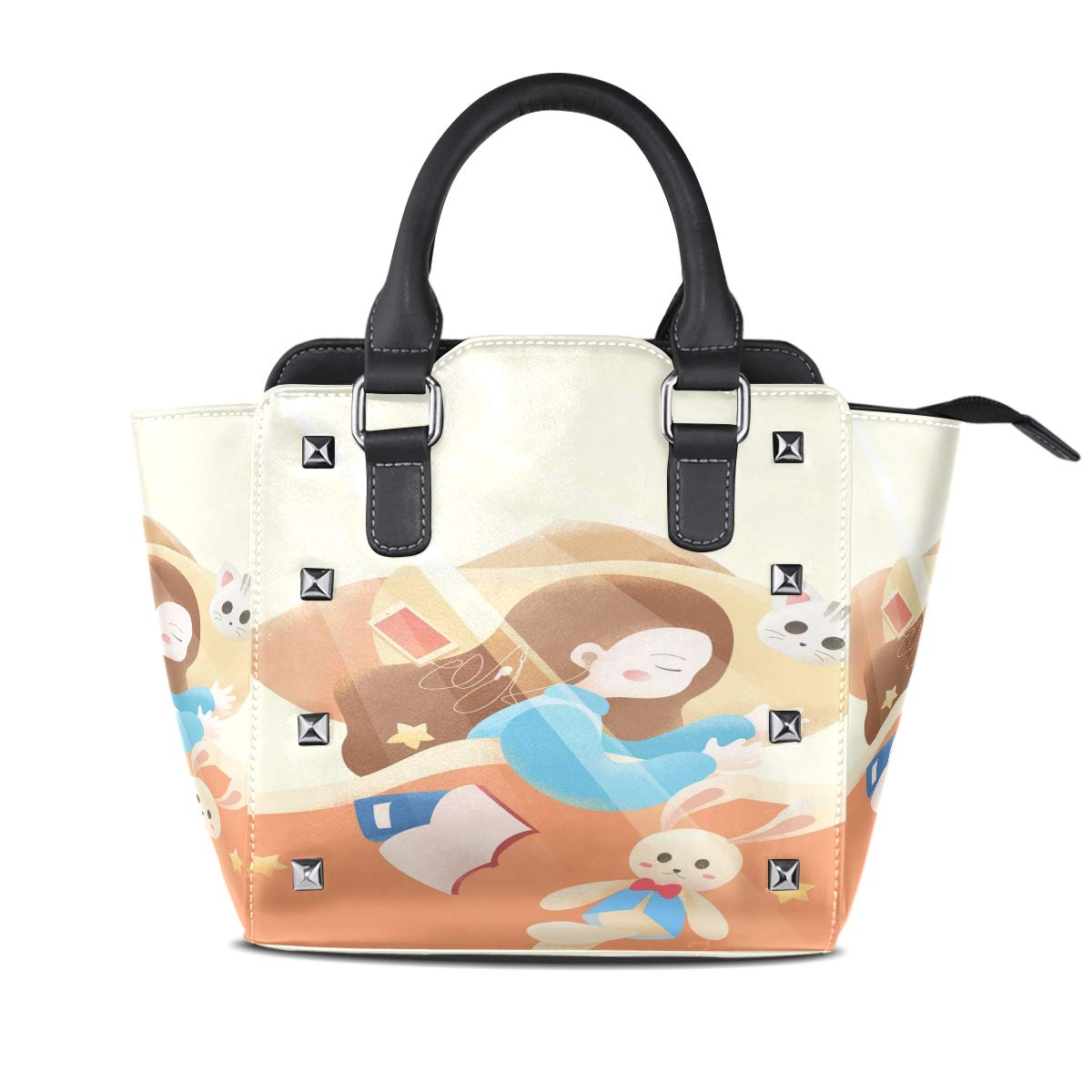 Design5 Handbag Flamingo Shell Sun Genuine Leather Tote Rivet Bag Shoulder Strap Top Handle Women