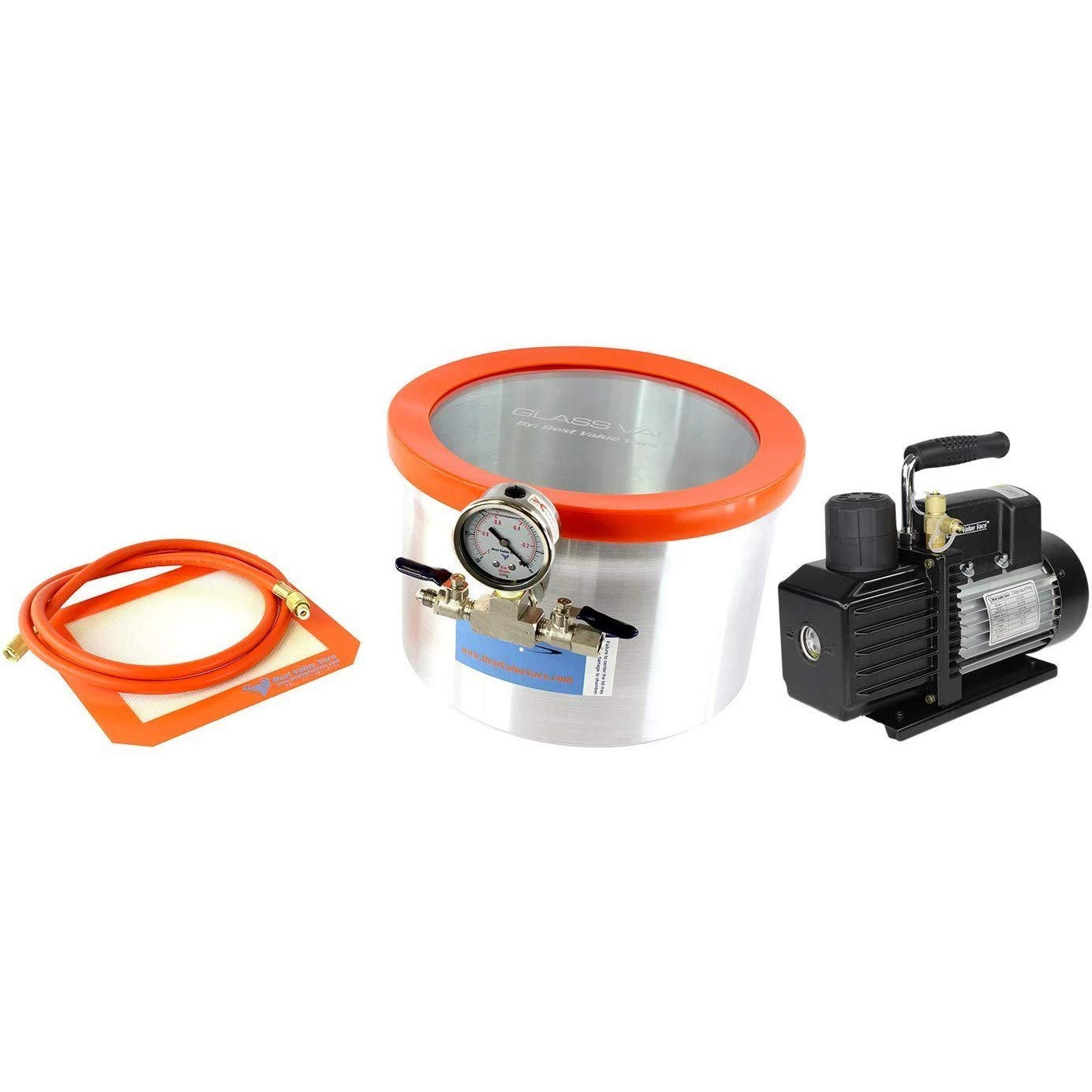 Glass Vac 2 Gallon Aluminum Vacuum Chamber and VE225 4CFM Two Stage Vacuum Pump Kit by BEST VALUE VACS