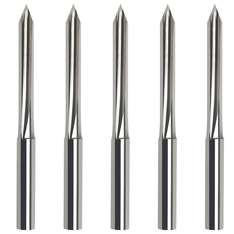 "EnPoint 60 Degree 3.175mm 1//8/"" Shank 0.1mm Tip 2-Flutes 38mm Total Length CNC Router Bits Carving Liner Metal V Bits for Steel Aluminum PCB MDF Wood Acrylic DIY Woodworking Carbide Engraving Bits"