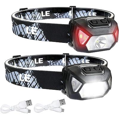Linterna Frontal USB Recargable 2000lux (2 Pack), LE D500 Linterna Cabeza Alta Potente 6 Modos con Luz Rojo, Resistente al Agua IPX6 para Niños Adultos, Correr, Caminar, Camping, Excursión, Pesca
