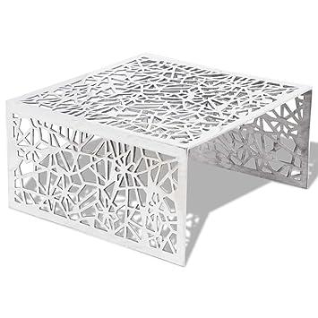 4b3cd9cf86ef65 vidaXL Table Basse Table de Salon Aluminium Design géométrique ajouré Argent