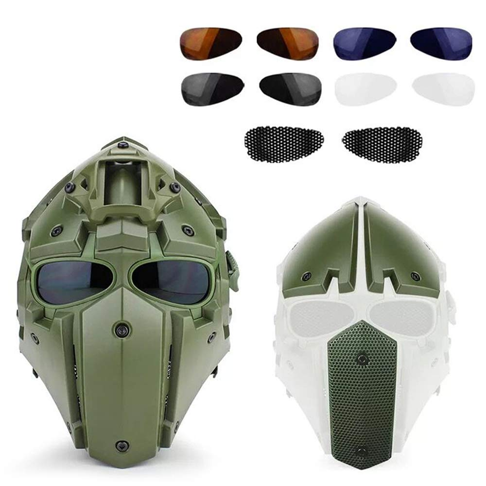 ActionUnion Fast Tactical Helmet Full Face Head Mask and Goggles Protective with Visor Goggles for Airsoft Military Hunting Paintball CS Necessary Riding Motorcycle Cosplay Movie Prop (Green) by ActionUnion