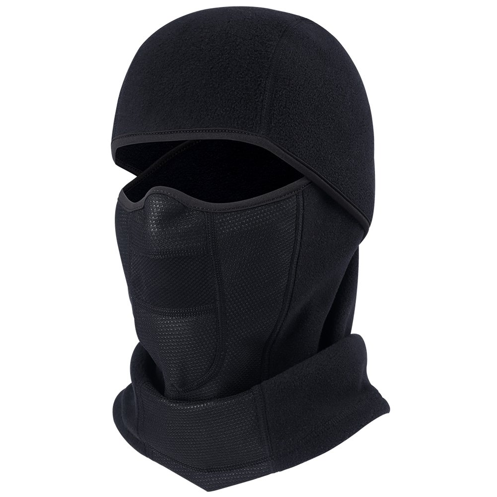 ef0e9fb634f Windproof Balaclava Fleece Hood with Neck Cover Half Face Ski Mask with Air  Hole (Balaclava-black1) at Amazon Men s Clothing store