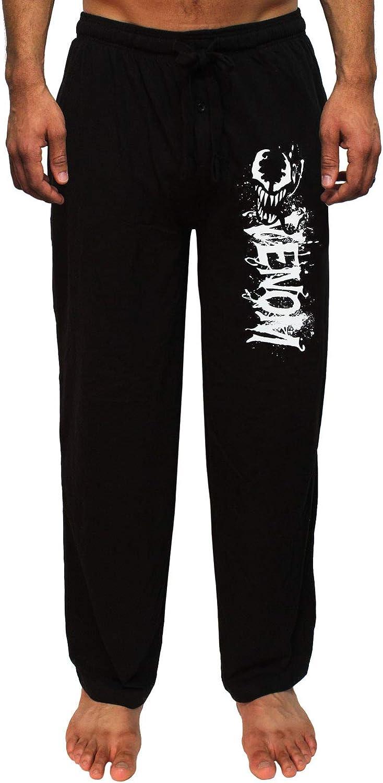 Marvel Venom Mens Splatter Character And Script Logo Loungewear Pajama Pants
