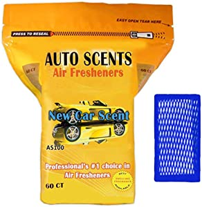 New Car Scent Professional Air Freshener Pads - Remove the Worst Smells with These Heavy Duty Pads (60 Pads Per Pack) (New Car Scent)