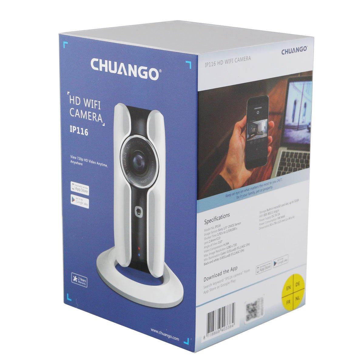 Chuango WiFi Cámara de red ip116 para sistemas de alarma G5 y o2