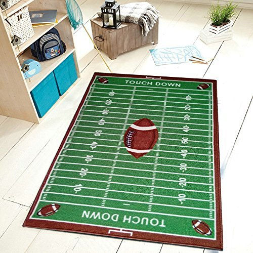 Universal Kids Sports Football Field Area Rug, Fun Time - Football Sports Rug