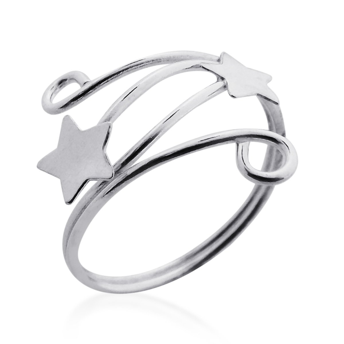AeraVida Shooting Stars Wrap Swirl Wire Sterling Silver Toe Ring or Pinky Ring