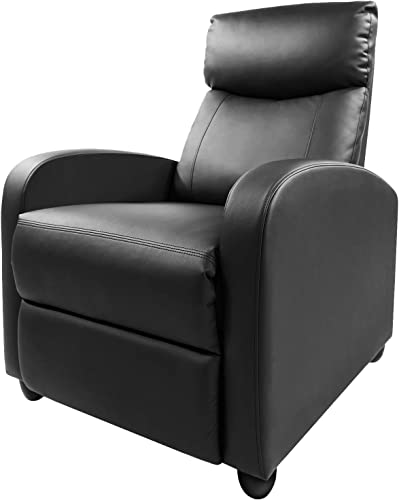 Rimiking Living Room PU Leather Adjustable Single Recliner Sofa Home Theater Seating Reading Chair