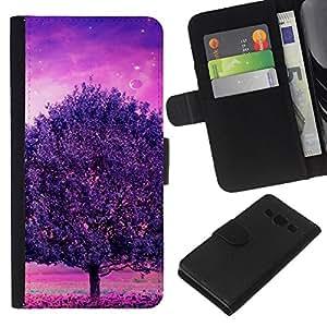 YiPhone /// Tirón de la caja Cartera de cuero con ranuras para tarjetas - Púrpura Árbol Glow - Samsung Galaxy A3