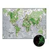 AENMIL Removable Luminous World Map Wall Stickers with English Alphabet, Home Decor Glow in the Dark Wallpaper For TV Background Living Room Classroom Kids Children