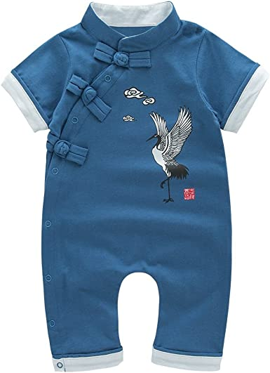 Mays Baby Toddler Chinese Traditional Dish Buckle Design Romper Outfit