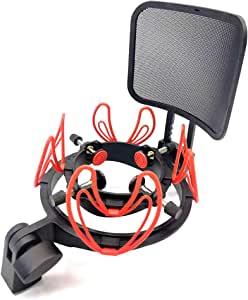Suuntok Microphone Shock Mount Kit Compatible for All Microphones Size at 21-62mm,Includes Universal Mic Shock-Mount and Pop Filter (red)