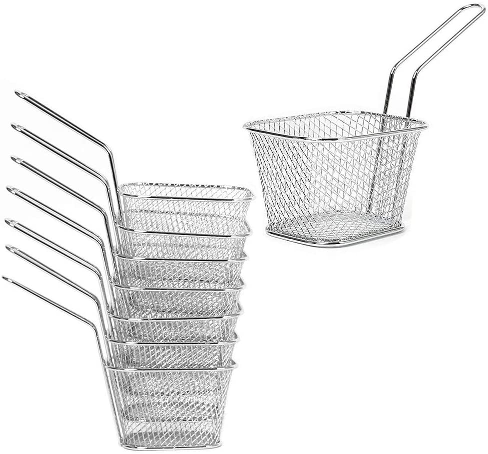 Lutingstore Mini French Fry Chips Baskets Net, 4-Inch Stainless Steel Square French Fry Basket Holder Suitable for Chips, Onion Rings, Chicken Wings, Silver(8PCS)