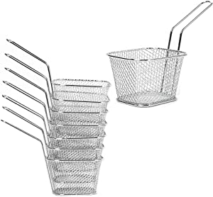 Mini Square Fry Basket, Stainless Steel French Fries Holder, Fried Food Table Serving, Oil Residue Filtration, for Kitchen Restaurant Party Barbecue (8 PCS)