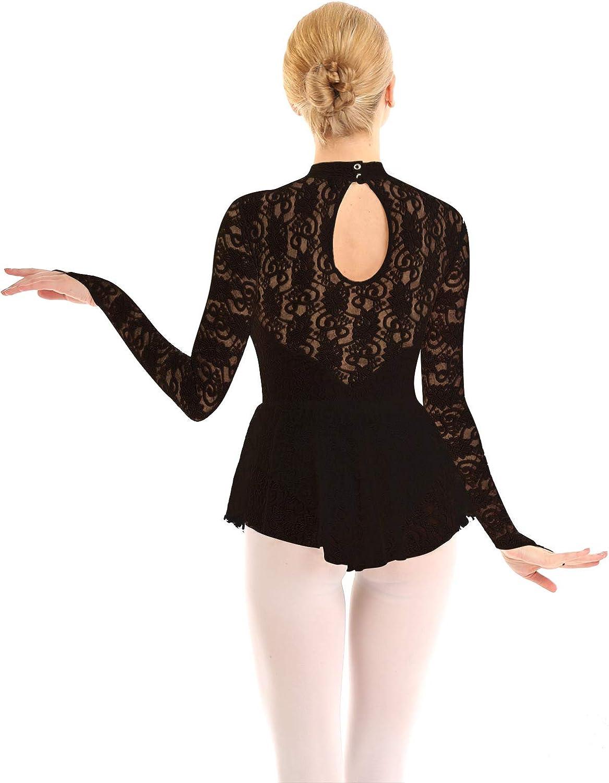 JEATHA Womens Floral Lace Ballet Dance Leotard Fingerpoint Sleeves Figure Ice Skating Dress Costume