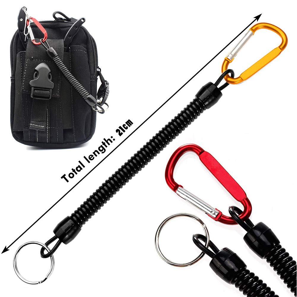 BETOY Cuerda de Pesca 6 Piezas Llavero Espiral el/ástico Accesorios Clave Remo y Camping