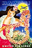 Digital Fusion Prints United Airlines (Hawaii) Vintage Travel Poster 24''x36'' (Unframed) Certified made with 200 Year Lifespan Archival inks