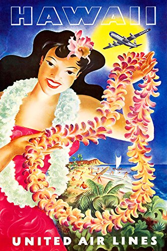 Digital Fusion Prints United Airlines (Hawaii) Vintage Travel Poster 24''x36'' (Unframed) Certified made with 200 Year Lifespan Archival inks by Digital Fusion Prints