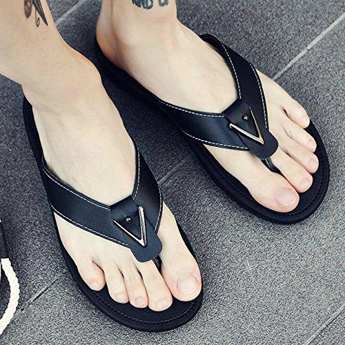 HUO Hausschuhe Mode Splice Outdoor-Sandalen Männer Sommer Rutschfeste EVA-Sohle Hausschuhe Strand Schuhe Einfach Schwarz Und Weiß Kühle atmungsaktiv ( Farbe : 3 , größe : EU43/UK9/CN44 ) 3