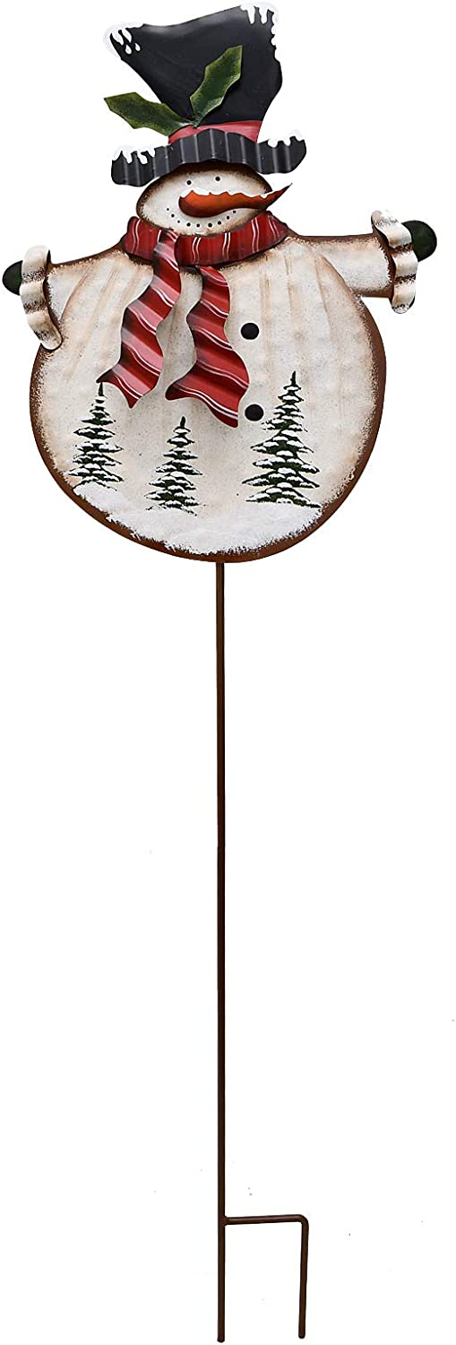 """Morning View Christmas Snowman Decorative Garden Stake, Metal Snowman Yard Stake Outdoor Christmas Stake Decoration for Xmas Holiday Lawn Yard 38"""" H(Red Scarf)"""