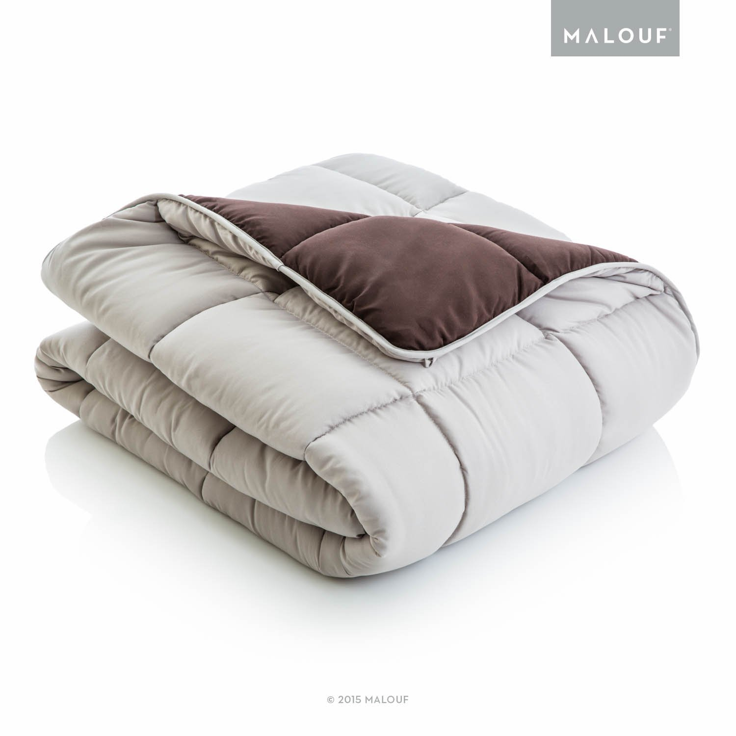 WOVEN Reversible Bed In a Bag Complete Bedding Set - Split Queen - Driftwood/Coffee by MALOUF (Image #3)