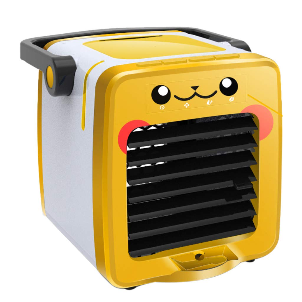 YUBINK Multi-Function USB Charging Portable Air Conditioning Fan Air Cooler with Aroma - Humidification and Purification, Four-Speed Wind Speed,RGB Tri-Color Ambient Light (Yellow)