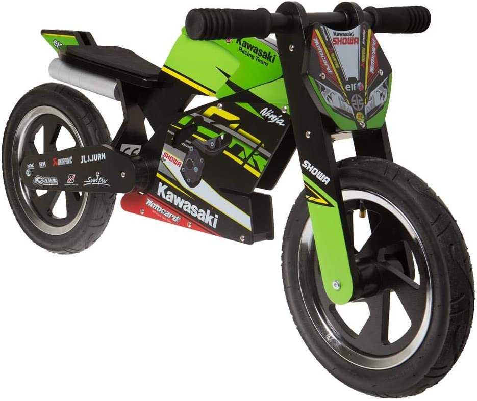 Kawasaki Ninja Kiddimoto Rueda. Unidad Aprendizaje Cilindro de madera con neumáticos
