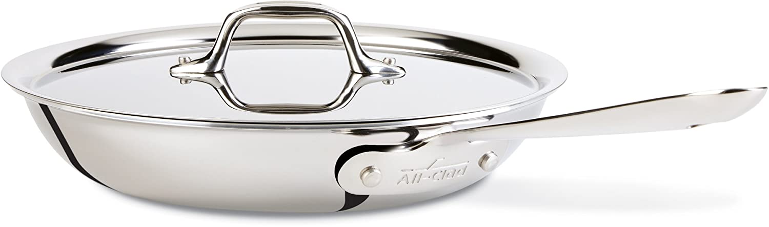 All-Clad D3 Fry Pan with Lid, 10 Inch Pan, Dishwasher Safe Stainless Steel Cookware, Silver