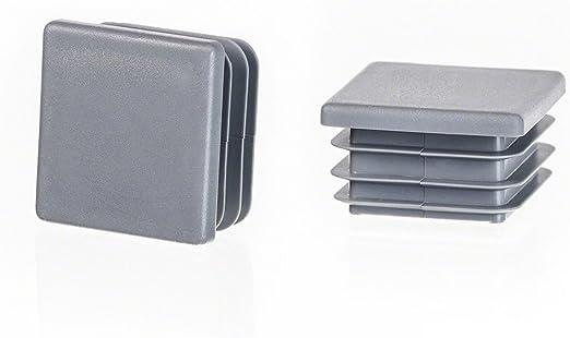 Quadratstopfen 40x40 Grau Kunststoff Endkappen Verschlusskappen 10 Stck